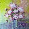 Claudia Hansen, Pfingstrosen in Glasvase, Plants: Flowers, Still life, Post-Impressionism