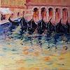 Claudia Hansen, Venedig: Abendstimmung mit Gondeln, Architecture, Romantic motifs: Sunset, Neo-Expressionism
