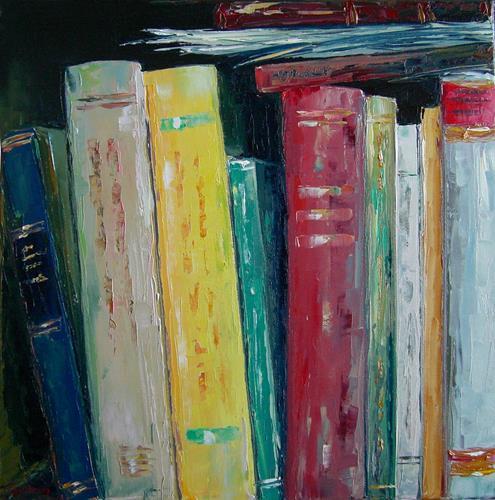 Claudia Hansen, Bücher Stilleben | Bibliothek, Society, Still life, Post-Impressionism