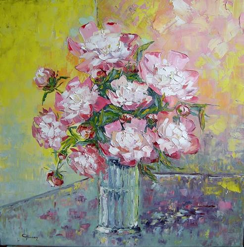 Claudia Hansen, Pfingstrosen, Plants: Flowers, Still life, Post-Impressionism