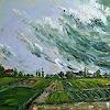 Claudia Hansen, Landschaft mit Gewitterwolken