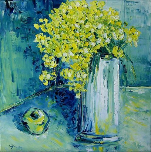 Claudia Hansen, Stillleben mit grünem Apfel, Plants: Flowers, Still life, Post-Impressionism, Expressionism