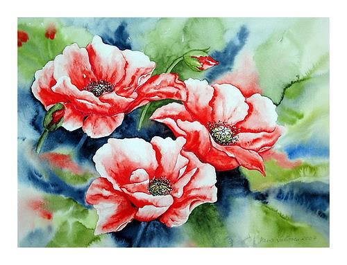 Maria Inhoven, Mohnblüten im Wind, Plants: Flowers, Times: Summer, Naturalism, Expressionism