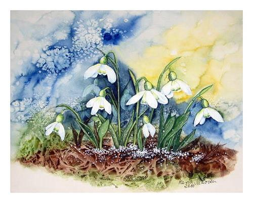 Maria Inhoven, Schneeglöckchen1, Plants: Flowers, Times: Spring, Naturalism