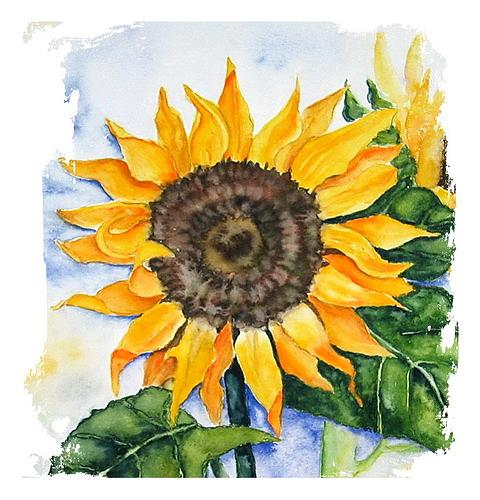 Maria Inhoven, Here comes the sun..., Decorative Art, Plants: Flowers, Naturalism