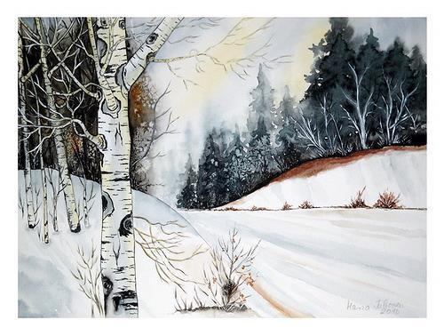 Maria Inhoven, Winterwald 2, Landscapes: Winter, Nature: Earth, Naturalism