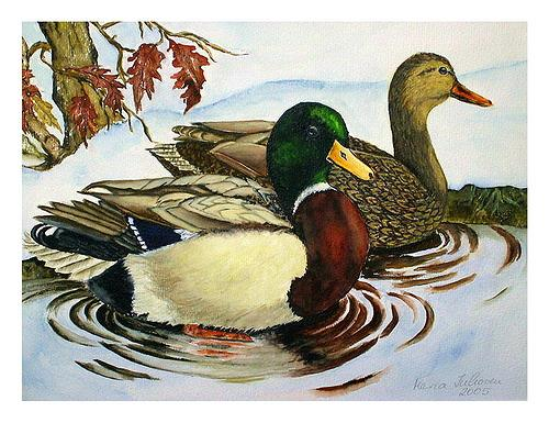 Maria Inhoven, Enten im Winter, Animals: Water, Nature: Water, Naturalism
