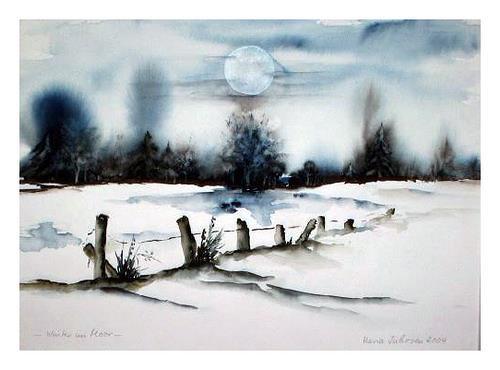 Maria Inhoven, Winter im Moor, Landscapes: Winter, Times: Winter, Romanticism