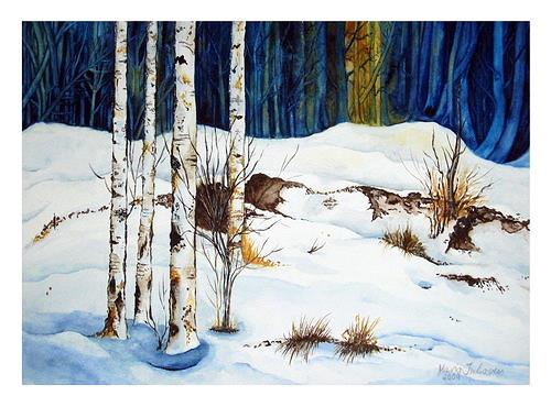 Maria Inhoven, Winterwald, Nature: Wood, Times: Winter, Naturalism, Expressionism