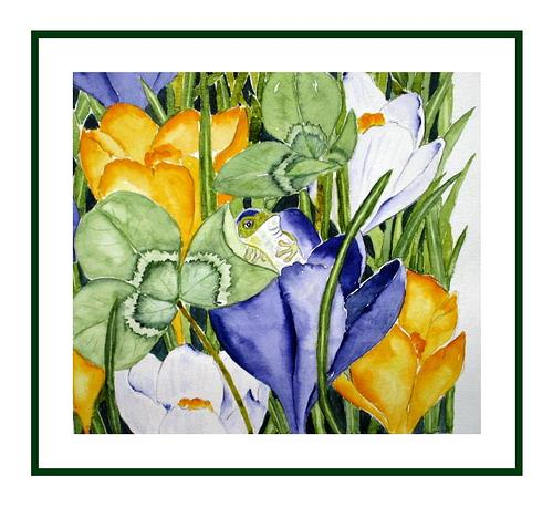 Maria Inhoven, Frosch im Frühling, Plants: Flowers, Times: Spring, Naturalism