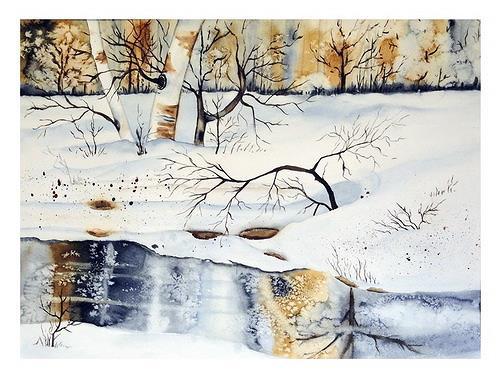 Maria Inhoven, Winter am Bach, Landscapes: Winter, Nature: Wood, Naturalism, Expressionism
