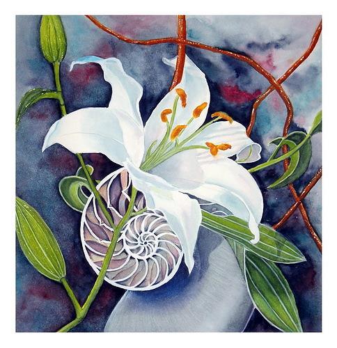 Maria Inhoven, Lilie und Nautilus, Still life, Plants: Flowers, Naturalism, Expressionism