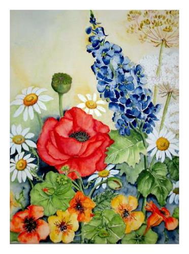 Maria Inhoven, Sommer im Garten, Plants: Flowers, Nature: Earth, Modern Times