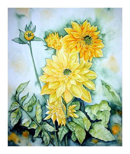 Maria Inhoven, Gelbe Dahlien, Plants: Flowers, Times: Summer, Naturalism