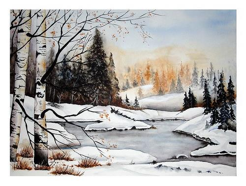 Maria Inhoven, Winter in Finnland, Landscapes: Winter, Miscellaneous Romantic motifs, Abstract Art