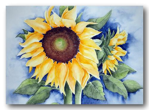 Maria Inhoven, Sonnenblumen, Plants: Flowers, Decorative Art, Naturalism