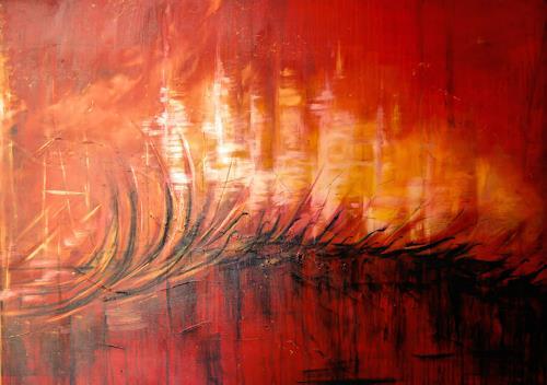 Nele Kugler, old harbour lights, Abstract art, Landscapes: Sea/Ocean, Contemporary Art