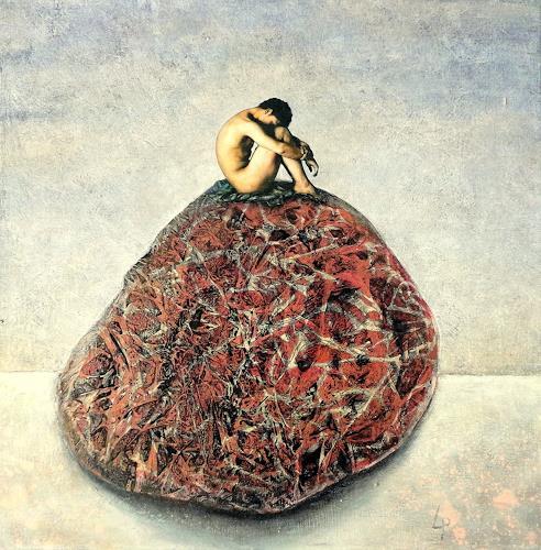 Gerda Lipski, ich saß auf einem Steine....., Erotic motifs: Male nudes, Nature: Rock, Abstract Expressionism