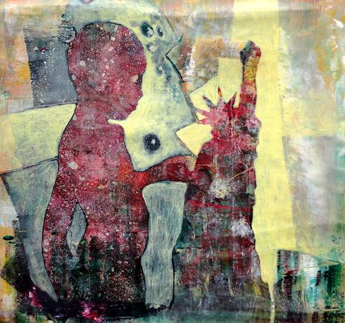 """Gerda Lipski, Monotypie """"Junge3, People: Children"""