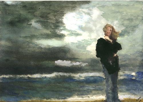 Eva-Maria Müller, Nur das Rauschen des Windes, Landscapes: Sea/Ocean, People: Women, Impressionism, Abstract Expressionism