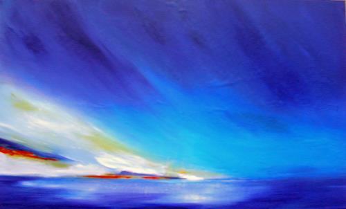 Ute Kleist, Himmelwärts, Romantic motifs: Sunset, Landscapes: Sea/Ocean, Contemporary Art, Expressionism