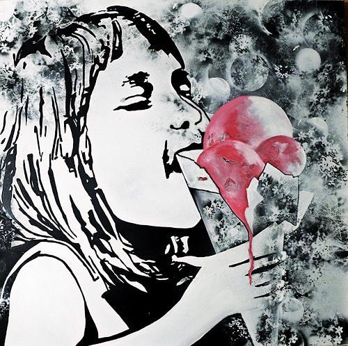 Ute Kleist, H(I)MMMBEEREIS, Emotions: Joy, Times: Summer, Pop-Art, Abstract Expressionism