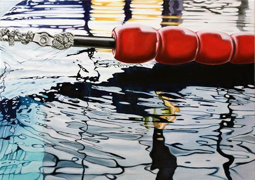 Alex Krull, o.T. (Schwimmleine rot), Sports, Nature: Water, Realism, Expressionism