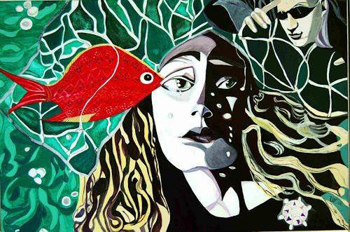 Ulla Wobst, Besuch bei Undine/Visit to Undine, Fairy tales, People: Women, New Figurative Art, Abstract Expressionism