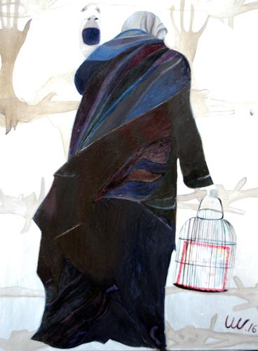 Ulla Wobst, BARRIERS, Emotions, People: Group, New Figurative Art, Abstract Expressionism