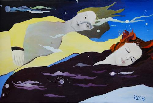 Ulla Wobst, FLOATING THROUGH THE UNIVERSE, Outer space, Movement, New Figurative Art