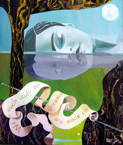 Ulla Wobst, Diving within, People: Women, Fantasy, New Figurative Art, Abstract Expressionism