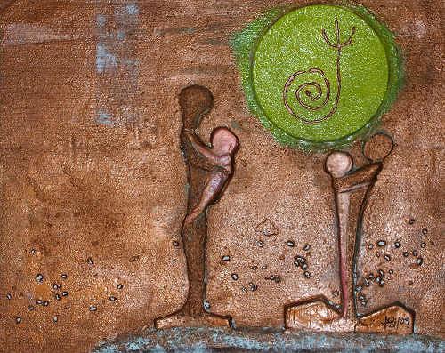 gawaju, Gemeinsam - Relief, People: Families, Symbol, Modern Age