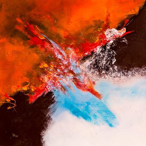 Ingrid TROLP, Gespaltene Erde - Feuer und Eis, Abstract art, Nature: Earth, Contemporary Art