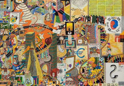 Ralf Hasse, 5 Monate Weltgeschichte auf Leinwand 100x70, History, Primitive Art/Naive Art, Modern Age