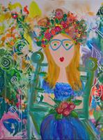 Katharina-Orlowska-People-Women-Plants-Flowers-Modern-Age-Expressionism-Abstract-Expressionism