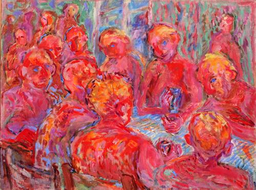 Vasiliy Tsabadze, The feast, Parties/Celebrations, People: Group, Post-Impressionism, Expressionism