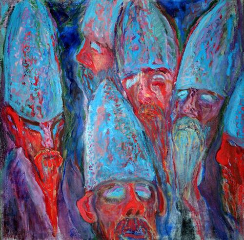 Vasiliy Tsabadze, The monks, People: Faces, Religion, Symbolism, Abstract Expressionism