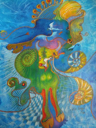 e.w. bregy, hommage à hundertwasser, Fantasy, Contemporary Art, Expressionism