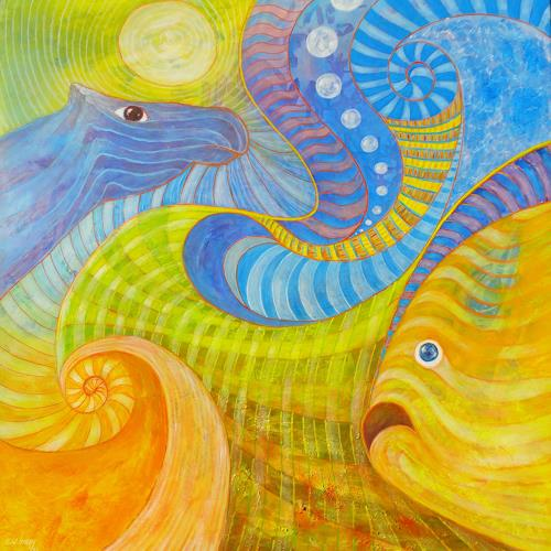 e.w. bregy, die linde & die 4 elemente, Fantasy, Contemporary Art, Expressionism