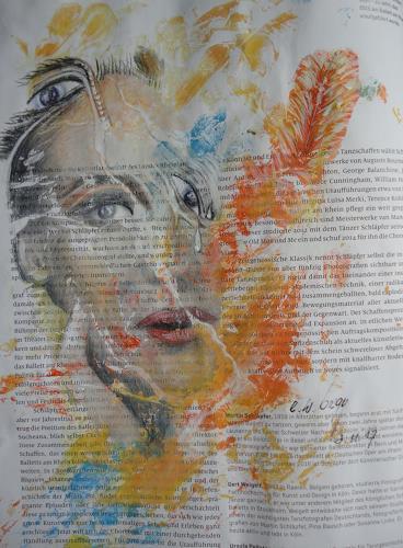 e.w. bregy, federgeschmückte tänzerin, People: Women, Contemporary Art, Expressionism