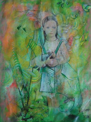 e.w. bregy, Hommage à R.M. Rilke: Mädchen im Grünen, People: Women, Contemporary Art