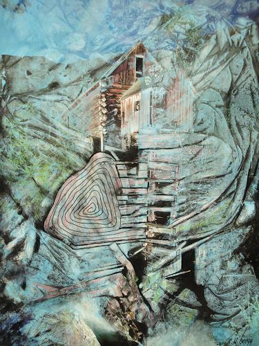 e.w. bregy, Auf Felsen gebaut, Fantasy, Contemporary Art, Expressionism
