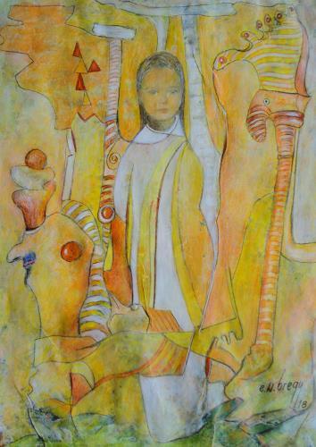 e.w. bregy, Hommage à R.M. Rilke: Mädchen in Weiss, People: Women, Contemporary Art