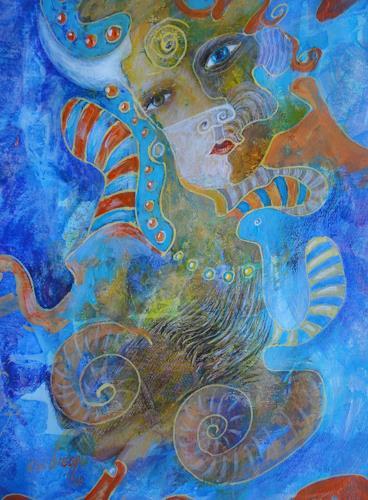 e.w. bregy, Masken - das zweite Gesicht: blauäugig, Fantasy, Contemporary Art
