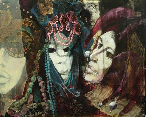 Beate Hildebrandt, Festival der Masken, Carnival, People: Faces, Contemporary Art, Abstract Expressionism