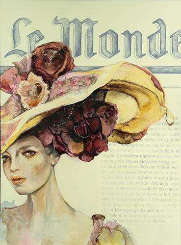 Beate Hildebrandt, Gut behütet - Hommage an Valentino, Fashion, People: Women, Contemporary Art, Expressionism