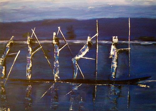 Brigitte Raz-Goldau, Afrika-Fünf in einem Boot, Landscapes: Sea/Ocean, People: Group, Contemporary Art, Abstract Expressionism