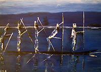 Brigitte-Raz-Goldau-Landscapes-Sea-Ocean-People-Group-Contemporary-Art-Contemporary-Art