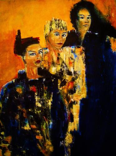 Brigitte Raz-Goldau, Drei Frauen, Society, People: Group, Contemporary Art, Abstract Expressionism