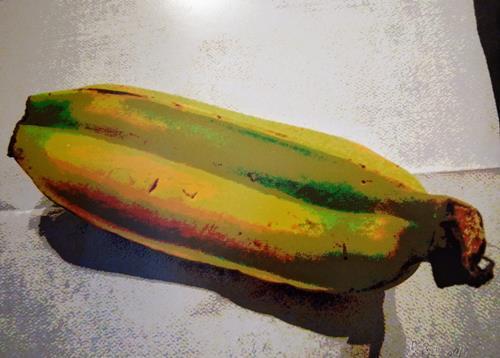 Brigitte Raz-Goldau, Zwei Bananen vereint, Plants: Fruits, Plants, Contemporary Art, Expressionism